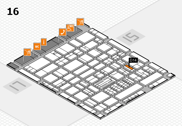 ProWein 2017 hall map (Hall 16): stand D14