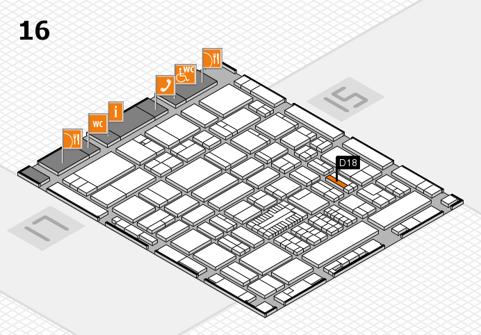 ProWein 2017 hall map (Hall 16): stand D18