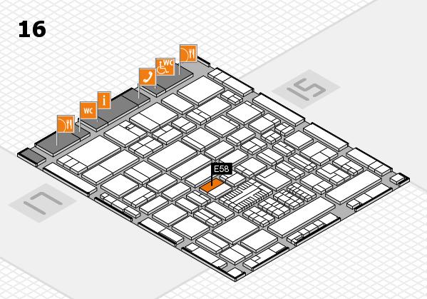 ProWein 2017 hall map (Hall 16): stand E58