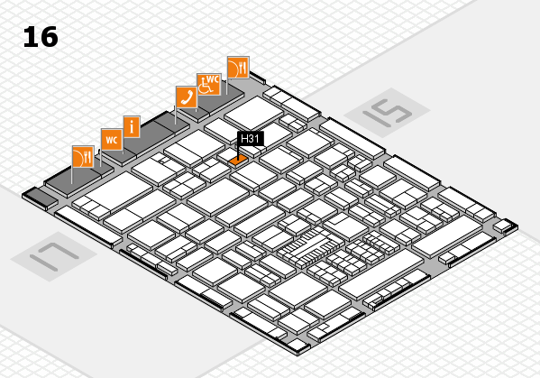 ProWein 2017 hall map (Hall 16): stand H31