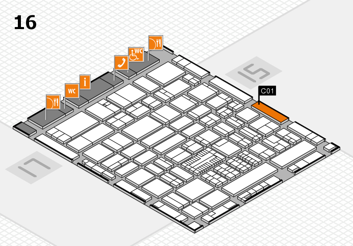 ProWein 2017 hall map (Hall 16): stand C01