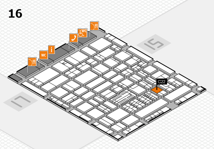 ProWein 2017 hall map (Hall 16): stand C22