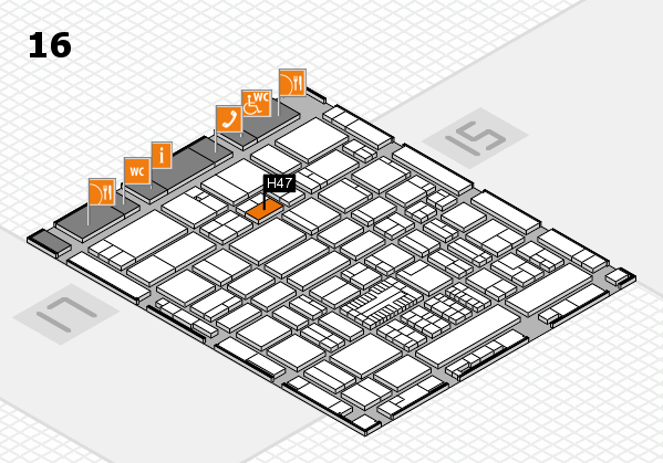 ProWein 2017 hall map (Hall 16): stand H47