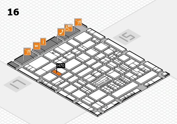ProWein 2017 hall map (Hall 16): stand H70