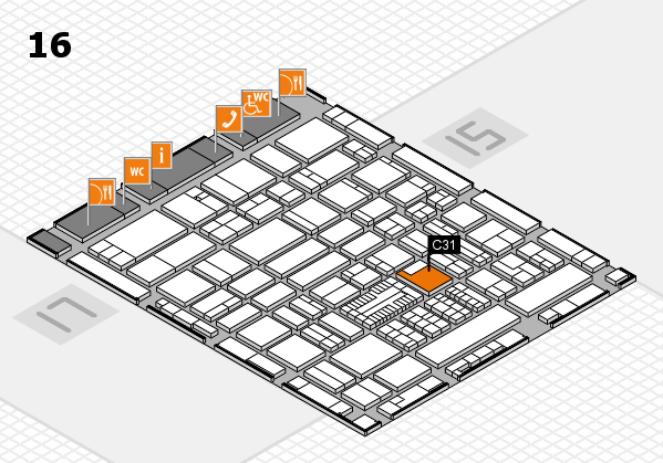 ProWein 2017 hall map (Hall 16): stand C31