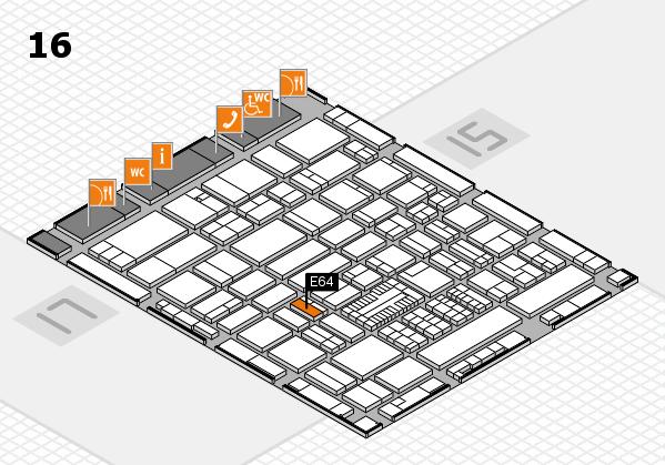 ProWein 2017 hall map (Hall 16): stand E64