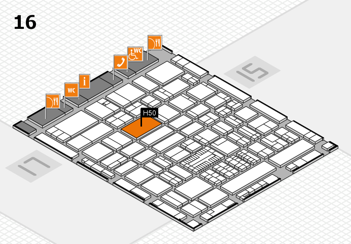 ProWein 2017 hall map (Hall 16): stand H50