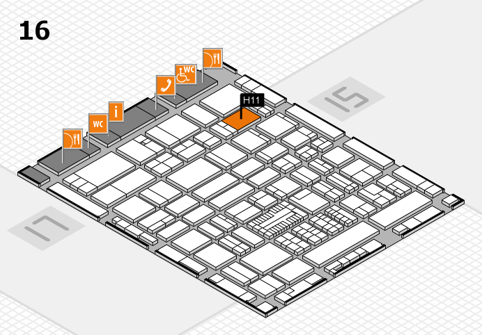 ProWein 2017 hall map (Hall 16): stand H11