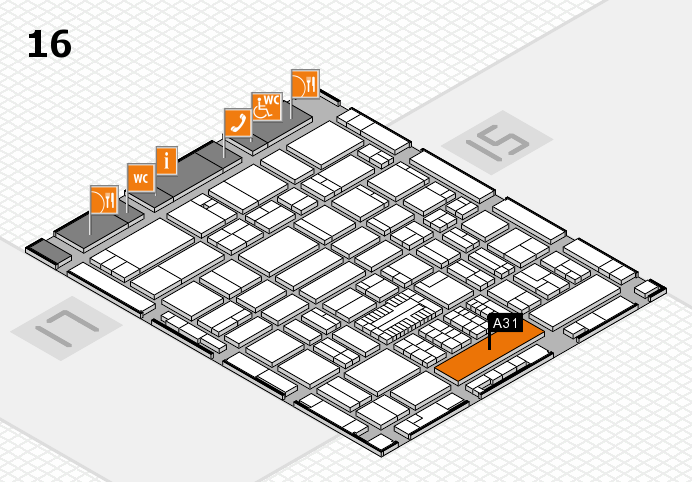 ProWein 2017 hall map (Hall 16): stand A31