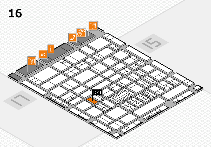 ProWein 2017 hall map (Hall 16): stand D71