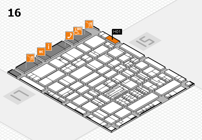 ProWein 2017 hall map (Hall 16): stand H01