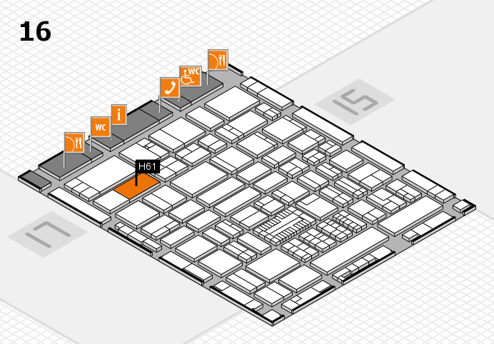 ProWein 2017 hall map (Hall 16): stand H61