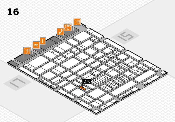 ProWein 2017 hall map (Hall 16): stand D70