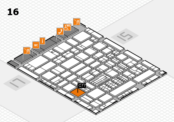 ProWein 2017 hall map (Hall 16): stand C77