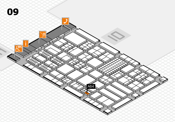ProWein 2018 hall map (Hall 9): stand A64