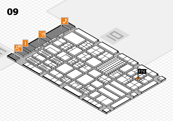 ProWein 2018 hall map (Hall 9): stand F74