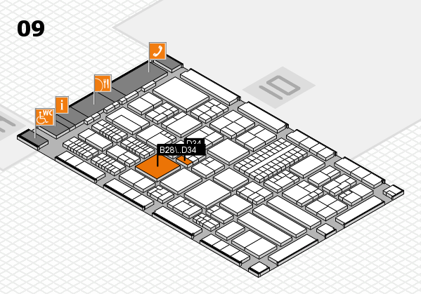 ProWein 2018 hall map (Hall 9): stand B28, stand D34