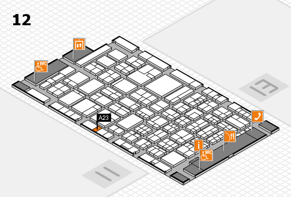 ProWein 2018 hall map (Hall 12): stand A23