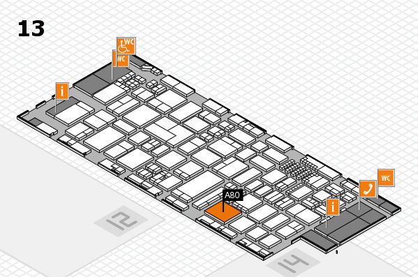 ProWein 2018 hall map (Hall 13): stand A80