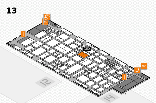 ProWein 2018 hall map (Hall 13): stand D50