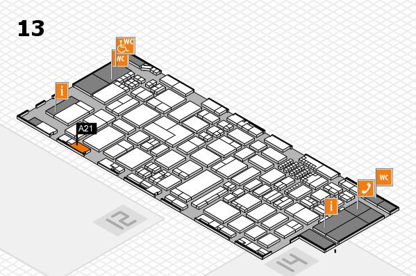ProWein 2018 Hallenplan (Halle 13): Stand A21