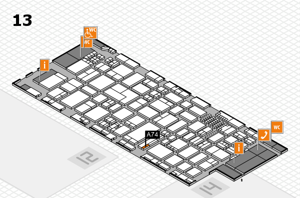 ProWein 2018 hall map (Hall 13): stand A74