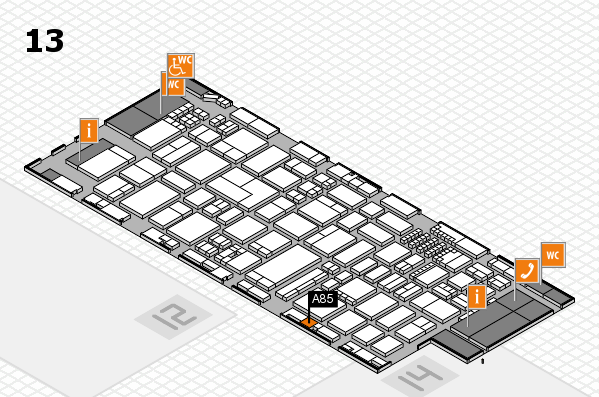 ProWein 2018 hall map (Hall 13): stand A85