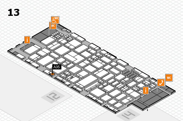 ProWein 2018 hall map (Hall 13): stand A35