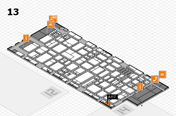 ProWein 2018 hall map (Hall 13): stand A117