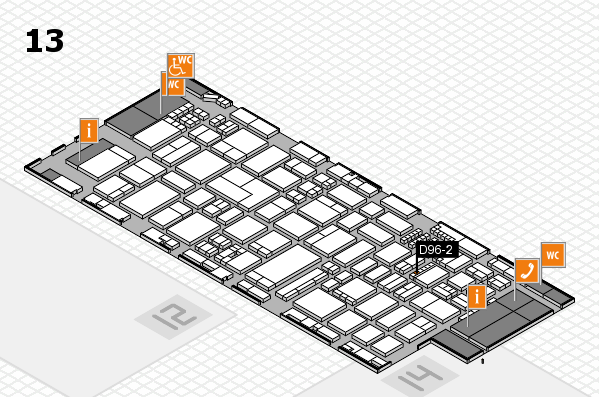 ProWein 2018 hall map (Hall 13): stand D96-2