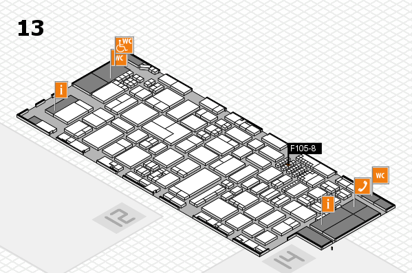 ProWein 2018 hall map (Hall 13): stand F105-8