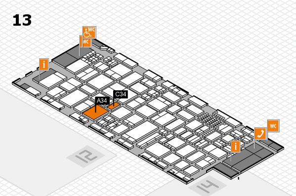 ProWein 2018 Hallenplan (Halle 13): Stand A34, Stand C34