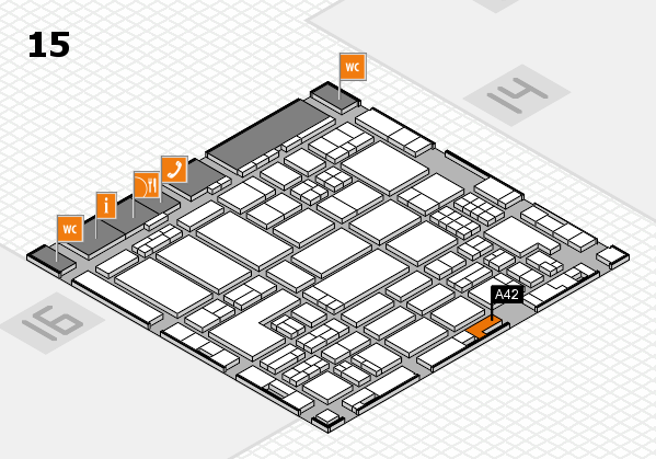 ProWein 2018 hall map (Hall 15): stand A42