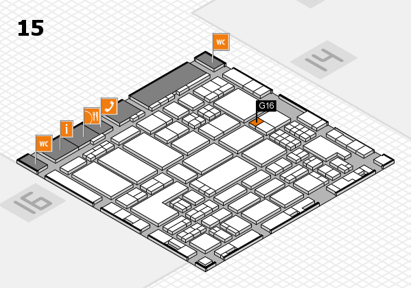 ProWein 2018 hall map (Hall 15): stand G16