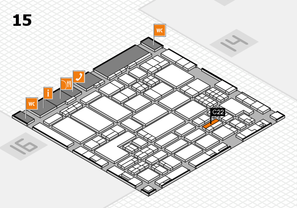 ProWein 2018 hall map (Hall 15): stand C22