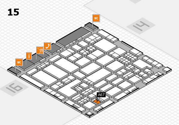 ProWein 2018 hall map (Hall 15): stand A67