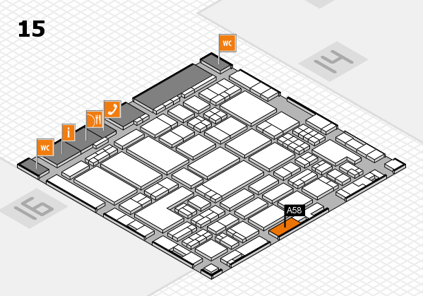 ProWein 2018 hall map (Hall 15): stand A58