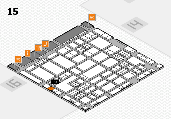 ProWein 2018 hall map (Hall 15): stand F81