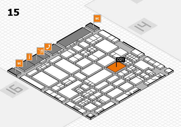 ProWein 2018 hall map (Hall 15): stand D21