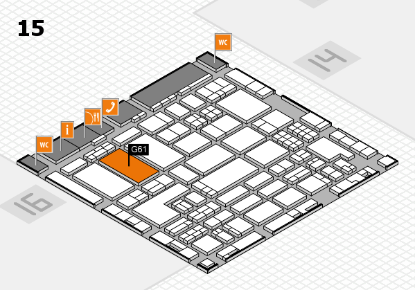ProWein 2018 hall map (Hall 15): stand G61