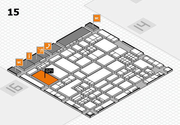 ProWein 2018 hall map (Hall 15): stand G71
