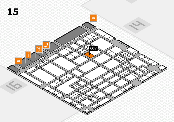 ProWein 2018 hall map (Hall 15): stand G37