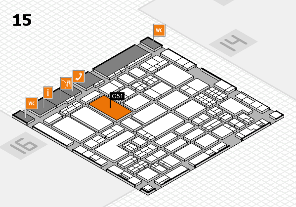 ProWein 2018 hall map (Hall 15): stand G51