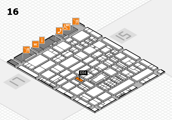 ProWein 2018 hall map (Hall 16): stand E64