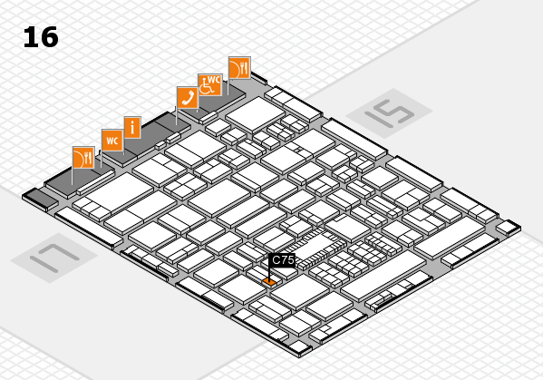 ProWein 2018 hall map (Hall 16): stand C75
