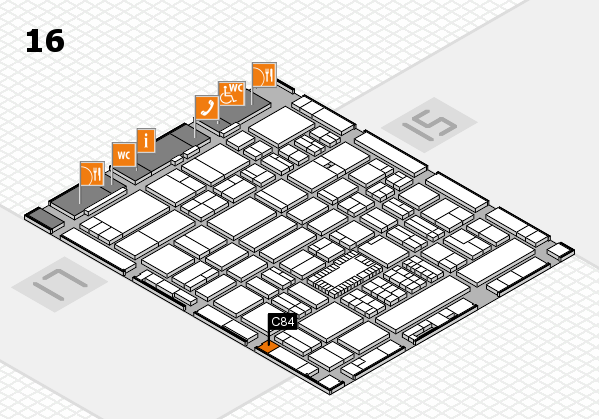 ProWein 2018 hall map (Hall 16): stand C84