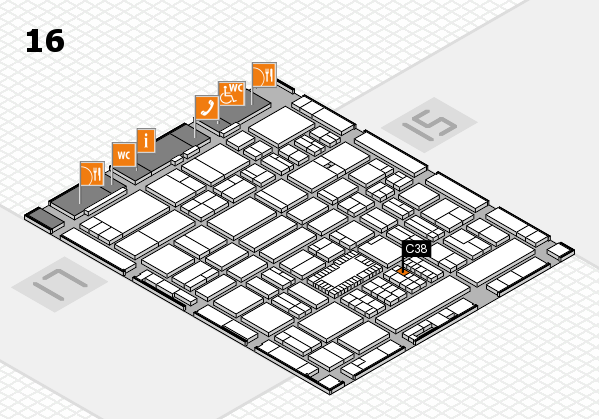 ProWein 2018 hall map (Hall 16): stand C38