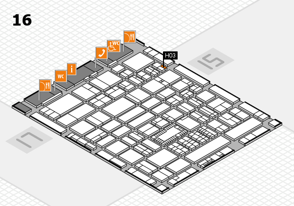 ProWein 2018 hall map (Hall 16): stand H03
