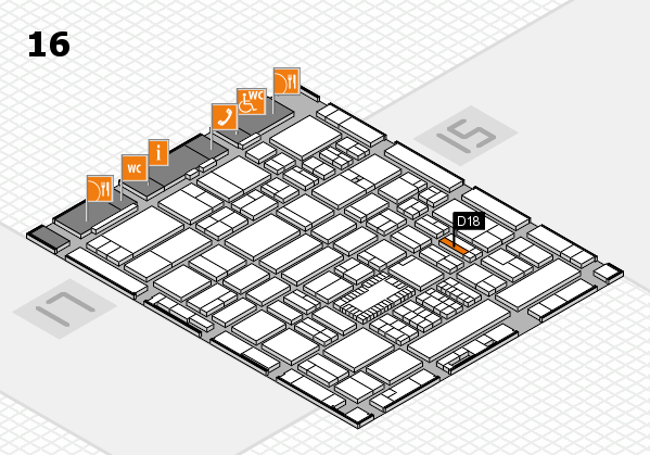 ProWein 2018 Hallenplan (Halle 16): Stand D18