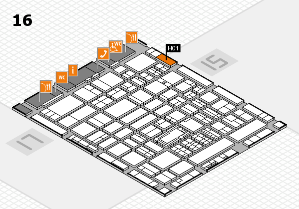 ProWein 2018 hall map (Hall 16): stand H01